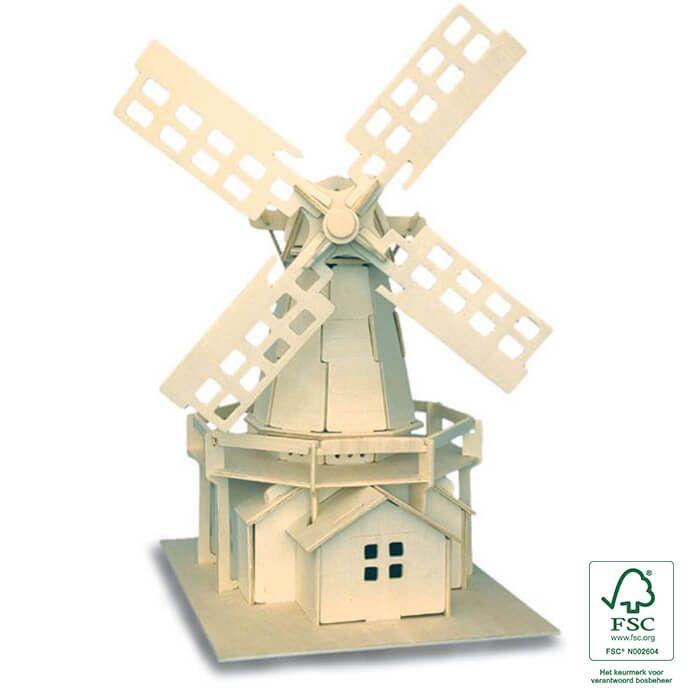 Leuke knutsel idee met de kinderen voor tijdens Pasen - Houten bouwpakket Hollandse molen