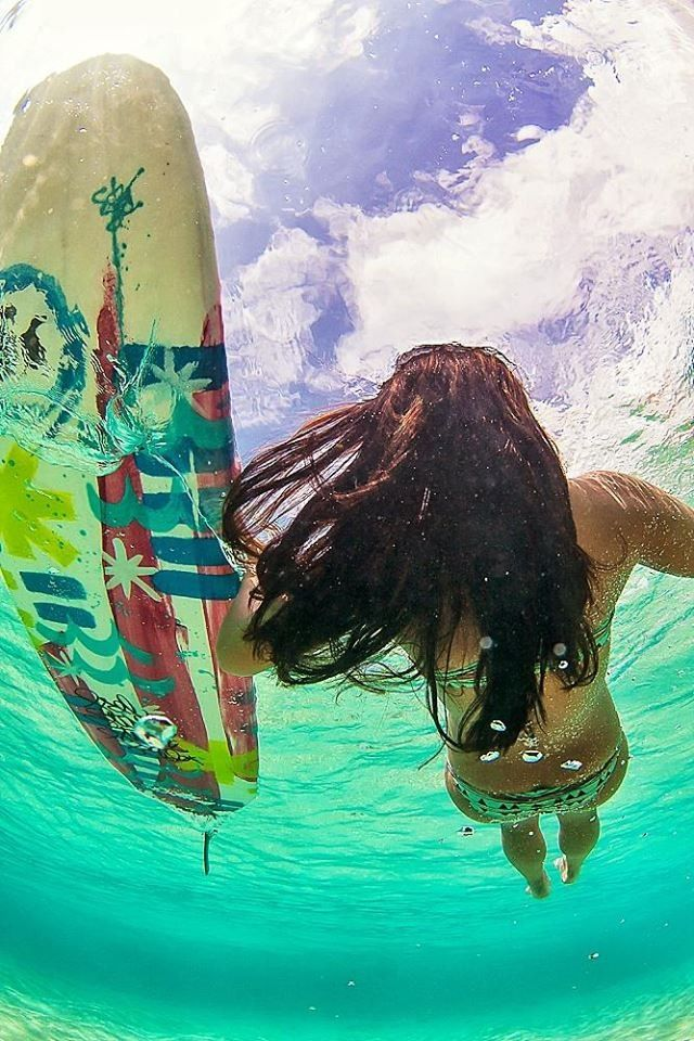 Surfboard  surfer girl in the ocean at the beach. For the BEST of summer FOLLOW http://www.pinterest.com/happygolicky/summer-style-jewelry-clothing-swimsuits-accessorie/