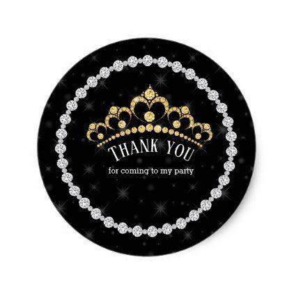 Sparkling Diamond Tiaras - choose your background Classic Round Sticker - birthday diy gift present custom ideas