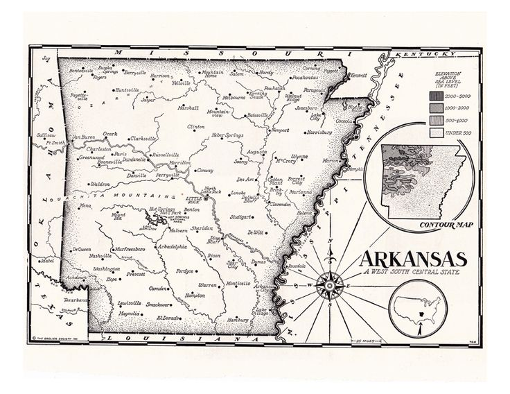 1950's black and white map of Arkansas