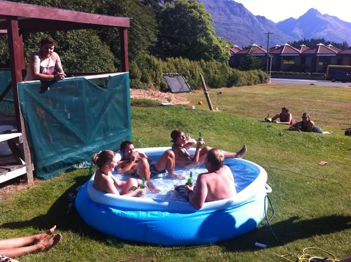 Soaking up the sun at Bungi Backpackers in Queenstown, New Zealand