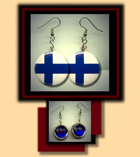 FINLAND FINNISH World Flag Altered Art Dangle Earrings by Yesware, $10.00