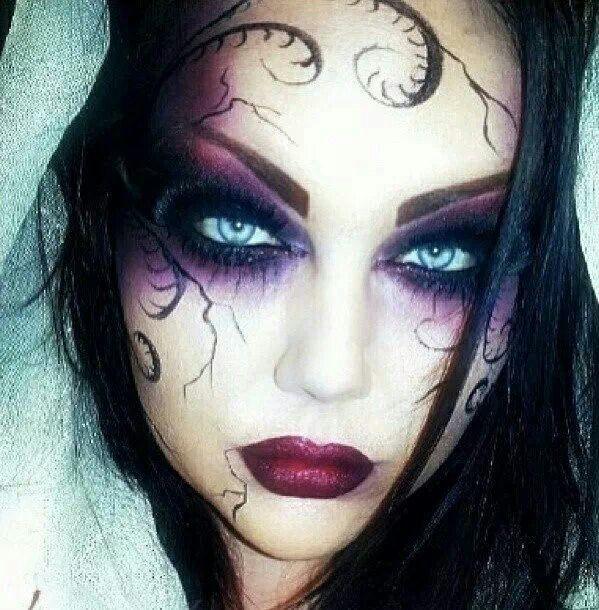 Dark makeup. Purple eye. Berry lip