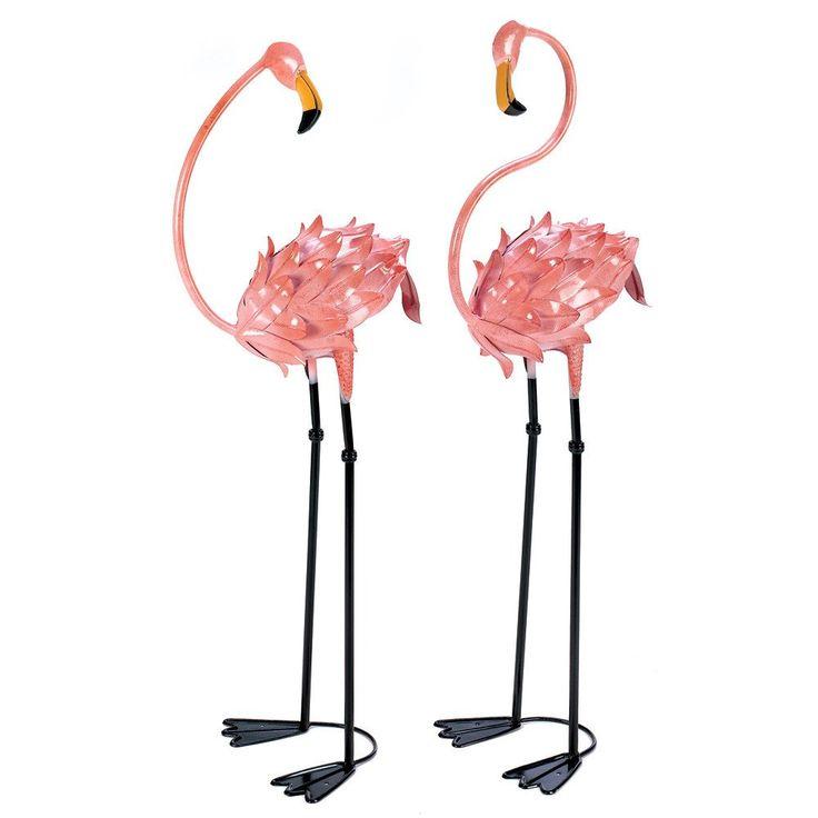 1960s Retro Style Pair of Pink Flamingos Garden Lawn Ornament