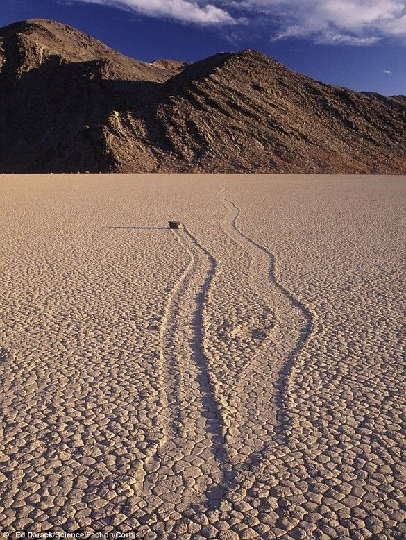 Sailing Stone, Racetrack Playa, Death Valley. // Jeep tour/rental info: http://www.farabeesjeeprentals.com/index.php?option=com_content&view=article&id=80%3Adeath-valley-rental-rates&catid=35&Itemid=27 and http://articles.latimes.com/2010/mar/21/travel/la-tr-deathvalley-20100321.