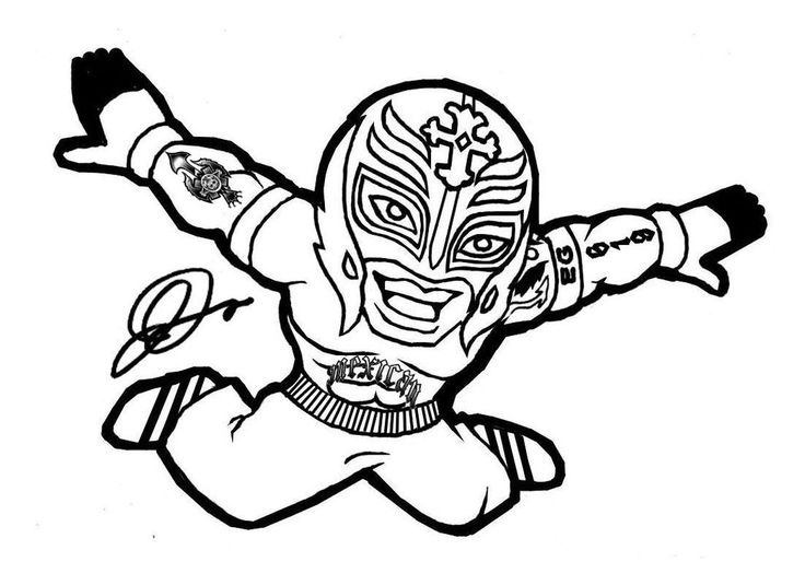 wwe coloring pages of rey mysterio