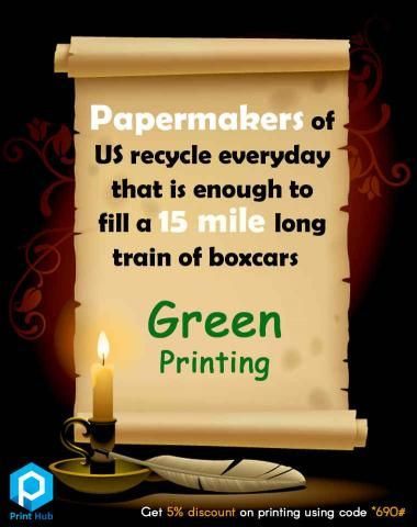 Paper Fact from Print Hub #PaperFact #Paper #Recycle #GreenPrining #PrintHub Papermakers of US recycle everyday that is enough to fill a 15 mile long train of boxcars Save Paper! Yes, We do Green Printing at Print Hub Tell *690# unique code with us and get 5% #discount #offer for all your printing works Contact: Sathiya Ramanan – 9600919690