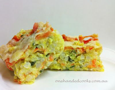 one handed cooks: baby & toddler food: cheesy vegetable rice slice