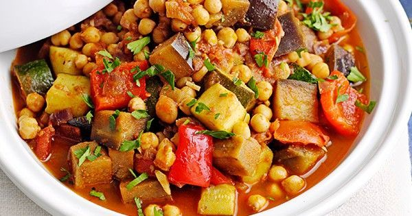 This recipe for Moroccan veg and chickpea tagine is vegan, low-fat and really easy to make. This makes enough for four, but the leftovers freeze well