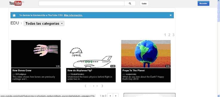 Youtube Edu en el que se ofrecen vídeos que se distribuyen con fines educativos, pudiendo ser utilizados en el aula. Son diferentes recursos que proceden de docentes, expertos o de universidades tan prestigiosas a nivel mundial como Harvard, Yale o UCLA, entre otras.