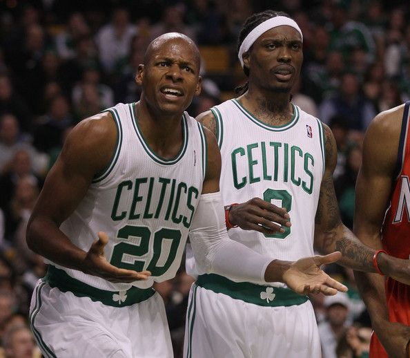 Ray Allen and Marquis Daniels Photos Photos - Ray Allen #20 of the Boston Celtics reacts to a call in the first quarter against the New Jersey Nets on November 24, 2010 at the TD Garden in Boston, Massachusetts. Teammate Marquis Daniels #8 of the Celtics stands by. NOTE TO USER: User expressly acknowledges and agrees that, by downloading and/or using this Photograph, User is consenting to the terms and conditions of the Getty Images License Agreement. - New Jersey Nets v Boston Celtics