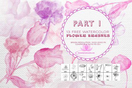Кисть для фотошопа - Акварельные цветы Photoshop brushes