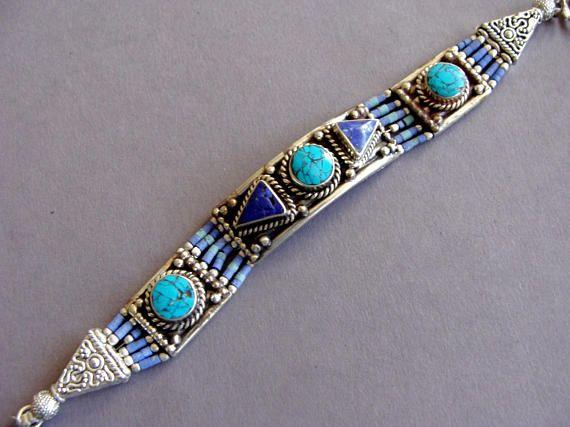 Nepalese lapis lazuli Bracelet, Vintage Bracelet, Ethnic Bracelet, Tribal Jewelry, Gypsy bracelet, turquoise bracelet, Bohemian jewelry