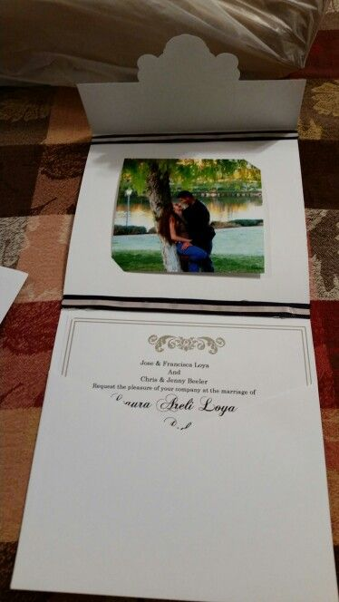 The 25 best hobby lobby wedding invitations ideas on pinterest from hobby lobby diy wedding invitation cut slits to place photograph and used ribbon to add color solutioingenieria Image collections