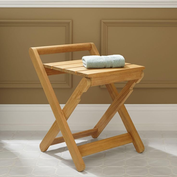dhara teak folding shower stool