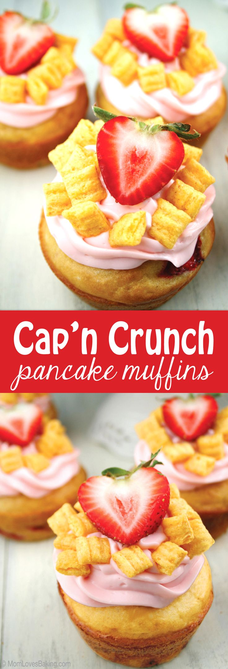 Made with crushed Cap'n Crunch cereal and fresh strawberries baked right in. Then topped with strawberry cream cheese, plus more cereal and a strawberry on top. #QuakerTime #ad