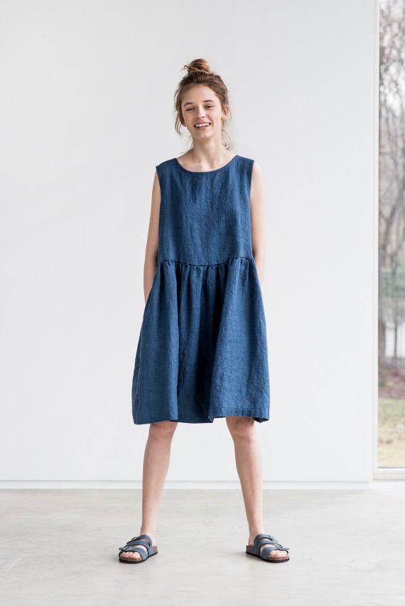 Lose Leinen ärmellose Sommerkleid in Denim Farbe / Leinenkleid