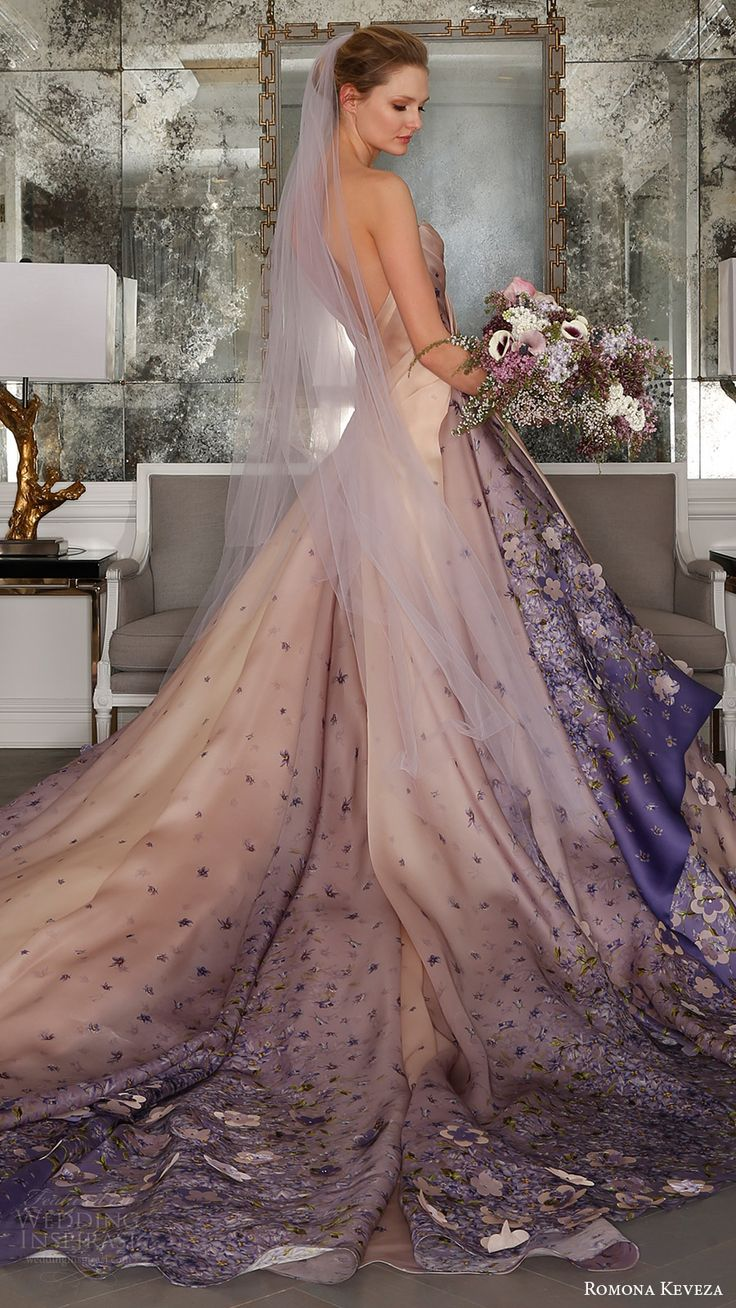 romona keveza bridal spring 2017 one shoulder sweetheart silk organza ball gown wedding dress (rk7413) bv blush color violet print