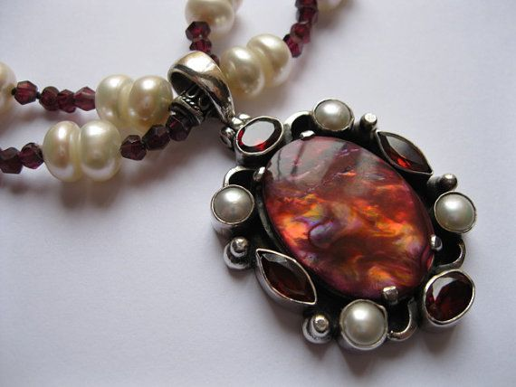Red Abalone Garnet Pearl and Sterling Silver Pendant Necklace