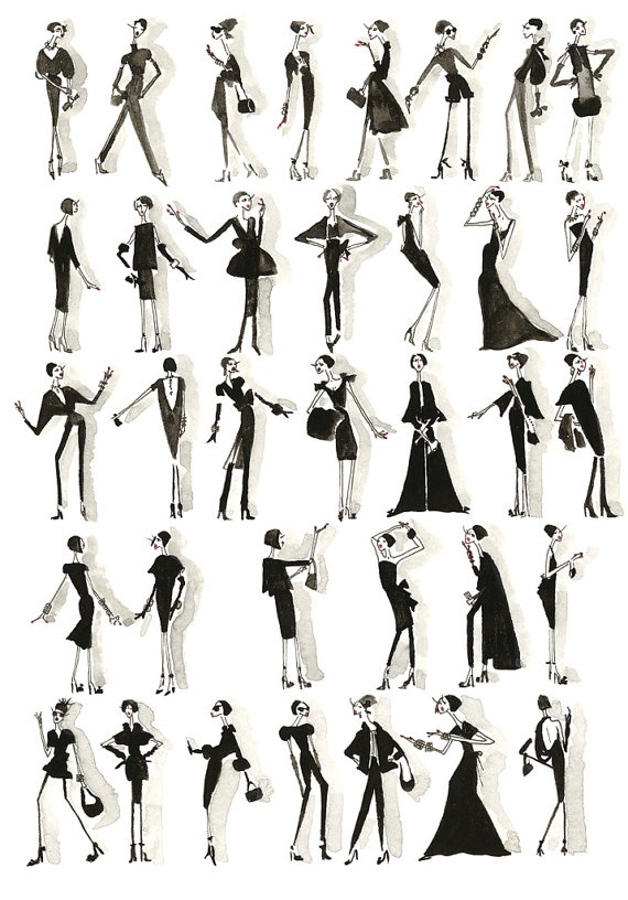 Illustrated print by Rebecca Moses   #fashionillustration #illustration #wallart #print #rebeccamoses #trafficnyc