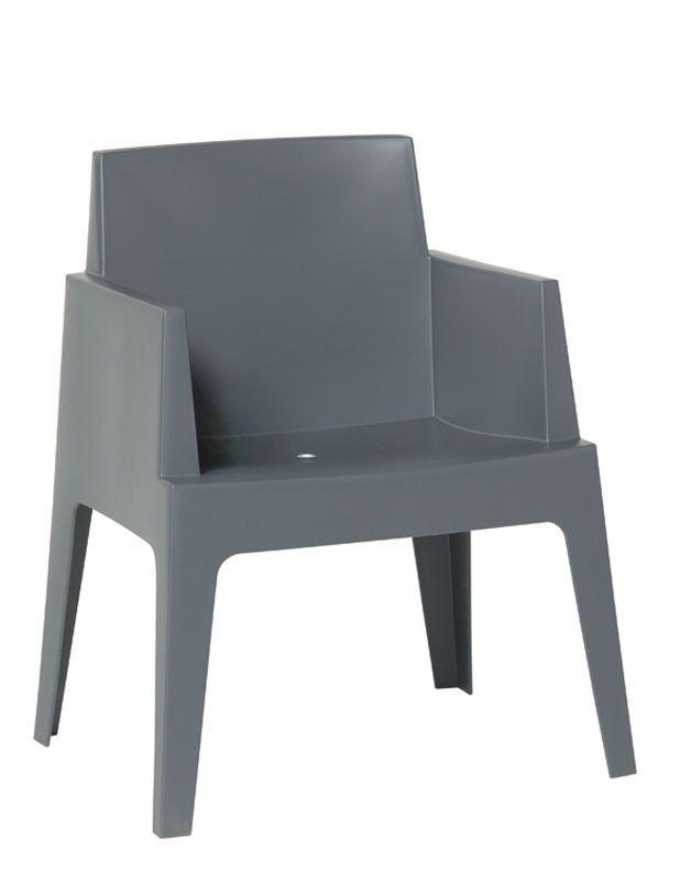 Garden Impressions Box stoel met armleuningen donker grijs