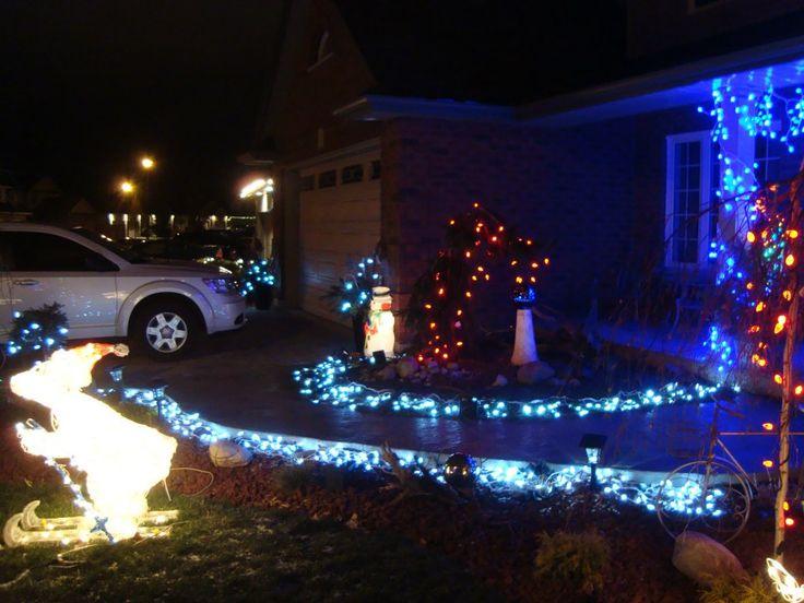Christmas lights on walkway
