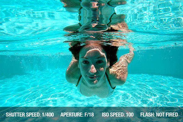 Podvodní fotografie - Žena plavání pod Vodou