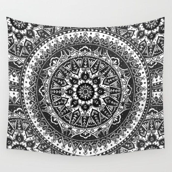Black and White Mandala Pattern Wall Tapestry