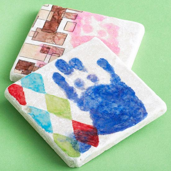 Personalized Coasters: Add a handprint to a coaster!