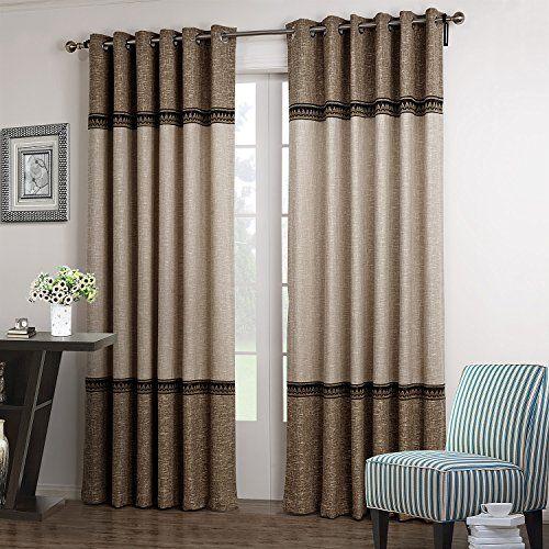 "TWOPAGES Faux Linen Three Pieced Grommet Curtain Drapes With Decorative Trim(One Panel) 50Wx84""L TWOPAGES http://www.amazon.com/dp/B00YG8Q7CW/ref=cm_sw_r_pi_dp_5XHxwb0JB1T55"