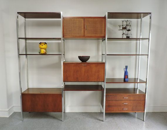 2850 Sold Sold Mid Century Modern Founders 10 Foot Wide 4 Bay Walnut Aluminum Modular Shelving Un Wooden Room Dividers Wood Room Divider Modular Shelving