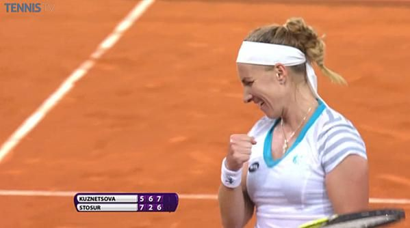 5/6/15 Via WTA Scores:  Kuznetsova defeats Stosur in a exhausting 2h44m thriller. Makes first QF of 2015. It's almost 1:00am. pic via tennis tv.