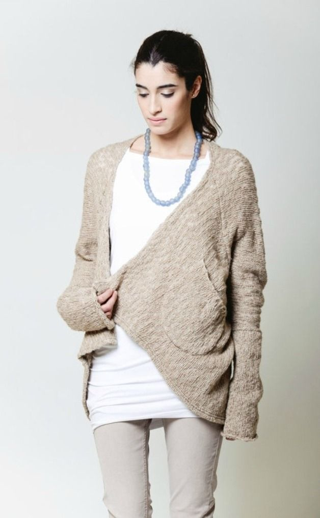Knitwear and wool at DaWanda Oversize cardigan sweater, made of extremely warm, Italian, soft mohair knit wool. Extra long sleeves and two pockets make the design comfortable, yet trendy. The front of the cardigan drapes...