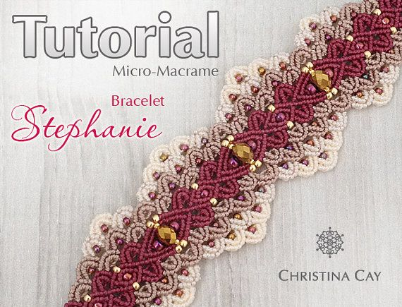 Bracelet tutoriel PDF Micro-Macrame macramé motif perlé « Stephanie »