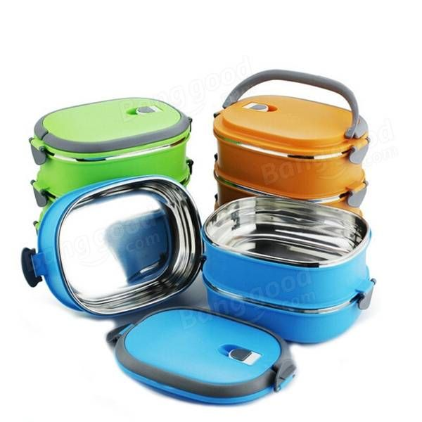 3 Tiers Stainless Steel Lunch Box Picnic Storage Box Insulated Thermal Bento BoxBox at Banggood
