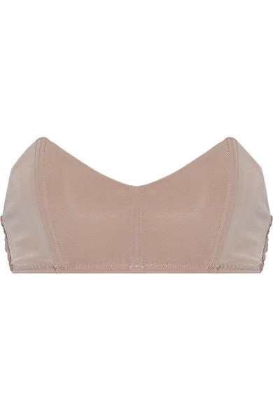 Fleur Du Mal - Stretch-jersey And Lace Bandeau Bra - Taupe - x small