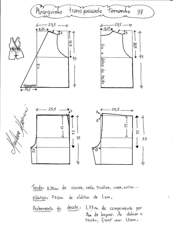 Esquema de modelagem de macaquinho com transpasse tamanho 38.
