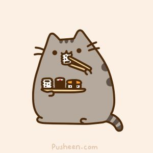 cat and sushi. both things I'm allergic to in one picture.