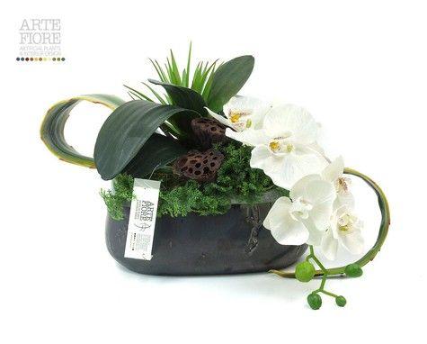 Composizione floreale fiori artificiali in tessuto: Orchiedee e Loto