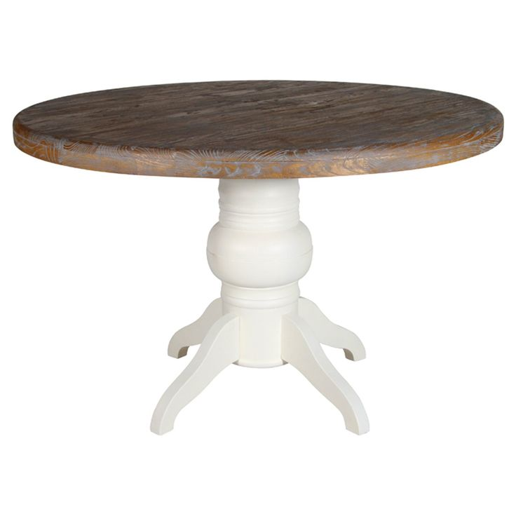 HICKS and HICKS Wood Top & Antique White Round Dining Table - Hicks & Hicks