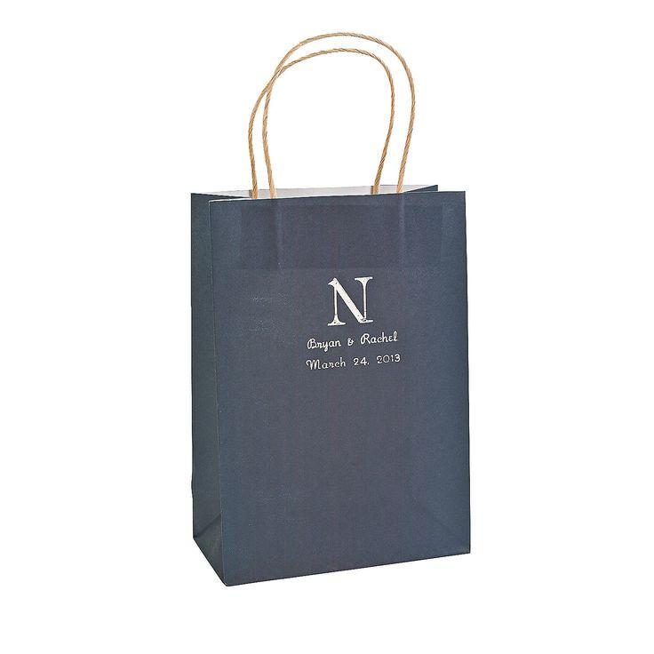 Personalized Monogram Navy Blue Kraft Paper Bags - OrientalTrading.com $12.75 for 12