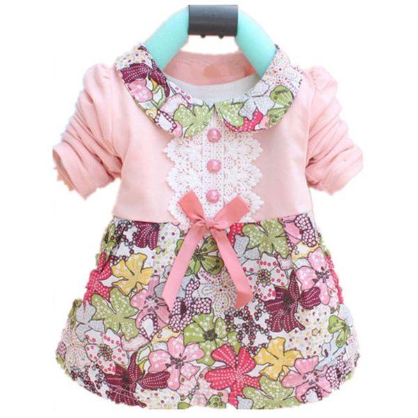 Bambino del bambino Delle Ragazze Principessa Floreale Dress Bow One Piece Dress Bambini 0-2Y L07