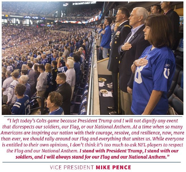 Vice-President Mike Pence and Second-Lady Karen Pence were attending an NFL game today between the Indianapolis Colts and the San Francisco 49ers.  The Colts were set to honor the career of Peyton …