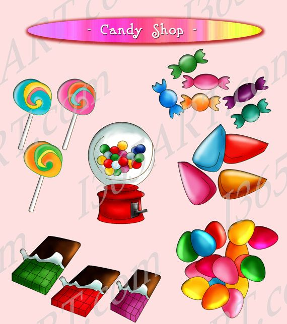 Candy Shop Clipart, Scrapbooking, Party Invitations, digital candy, instant download, jpeg png - by I365Art on Etsy