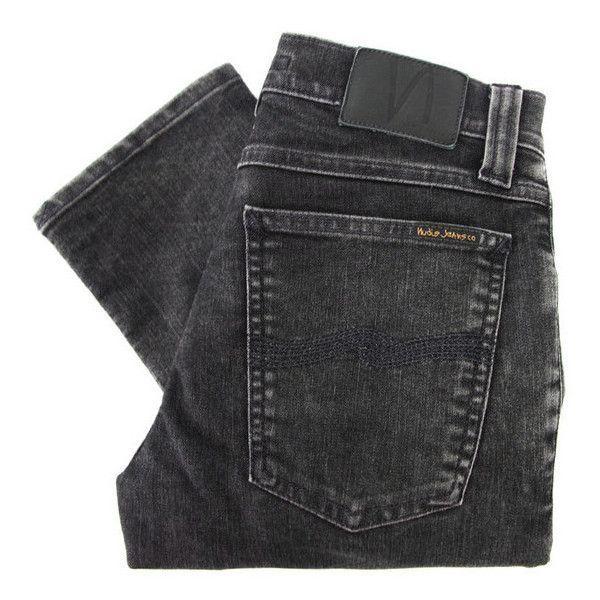 Nudie Tight Long John 110954 Black Tears Skinny Jeans ($170) ❤ liked on Polyvore