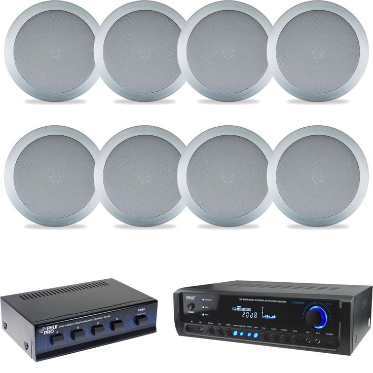 "Silver 5.25"" 150W In Ceiling/Wall Speakers/Selector, Bluetooth Home USB Receiver #Pyle"