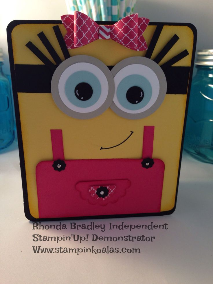 Stampin up Minion Girl Punch Art. (Pin#1: Children: Girls. Pin+: Punch Art: Children).
