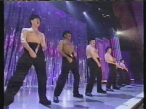 The cast of 'The Full Monty' performing at the Tony Awards.