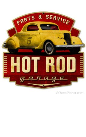 image of Hot Rod Parts and Service Metal Sign