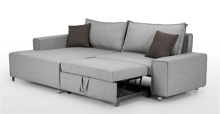 Mayne Left Hand Facing Corner Sofa Bed, Clear Grey Stone   made.com